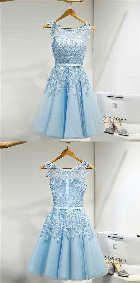 Kurz Blau Spitze Tüll Cocktailkleid Abiballkleid Partykleid