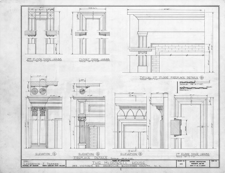 Дверные и камин детали, Смит-Макдауэлл Дом, Эшвилл, Северная Каролина
