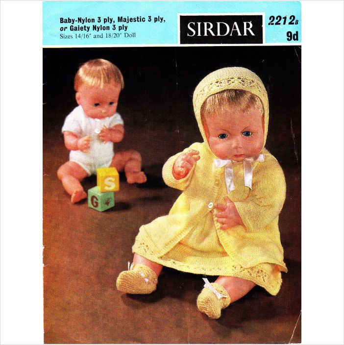 Sirdar Toy Knitting Patterns : 2212b Sirdar Knitting Pattern Baby Doll Layette 14-20