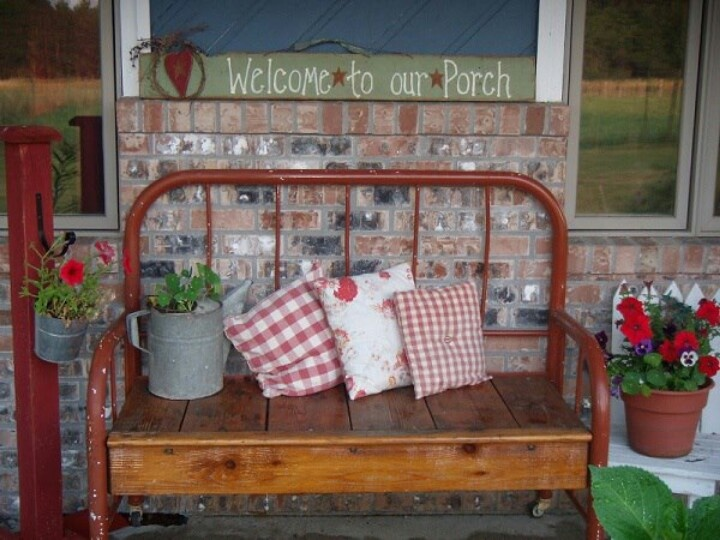 .bench made from bed frame