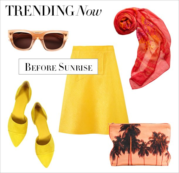 Trending Now on #ShopBAZAAR... Before Sunrise: Summer is here! Embrace the sunny days with bright hues of coral and gold.: Cat, Color, Wear Outfits, Summer Outfits