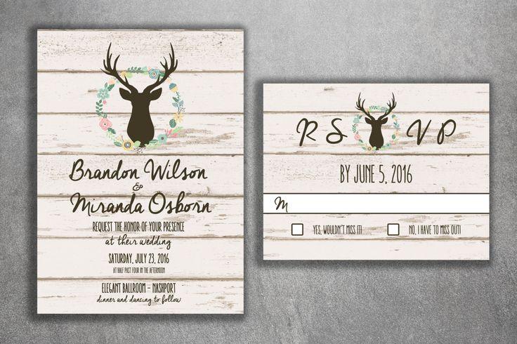 Country Wedding Invitations Set Printed - Cheap Wedding Invitations, Burlap, Kraft, Wood, Affordable, DIY, Woodsy, Lights, Deer, Buck, Rack by Level33Graphics on Etsy