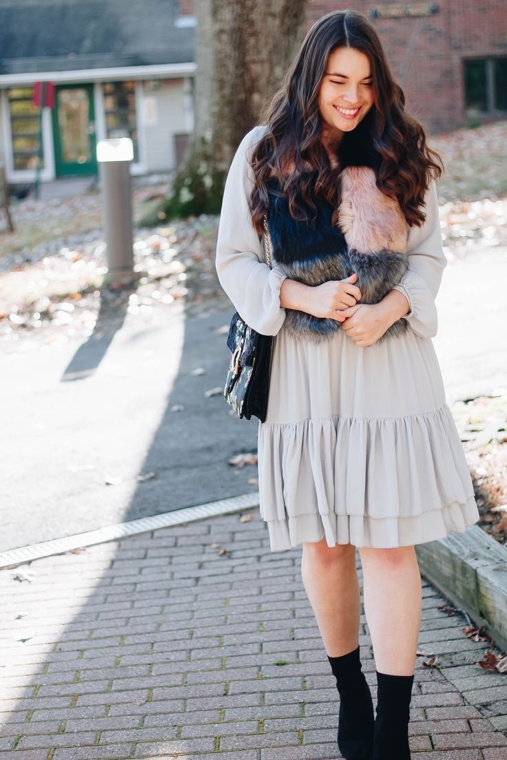 Holiday Style Series: Pleated Dress + Faux Fur Stole // My Sweet Genevieve