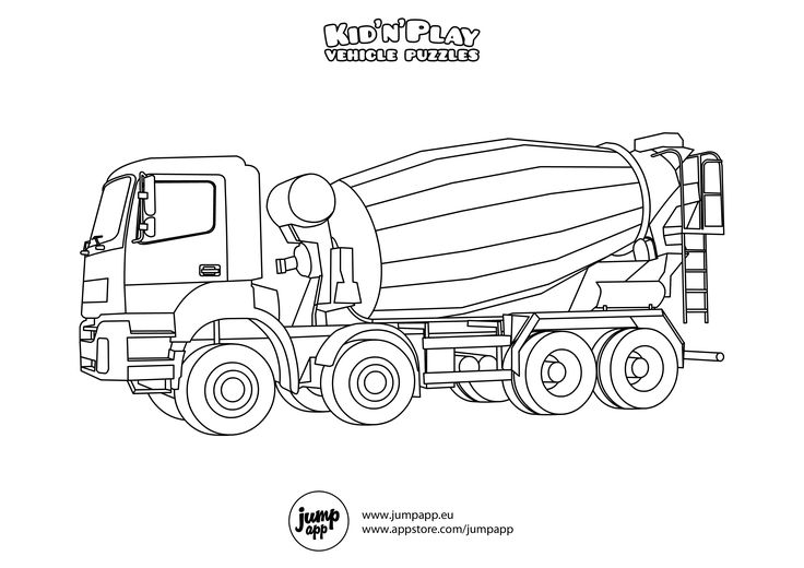 concrete mixer truck coloring pages - photo#2