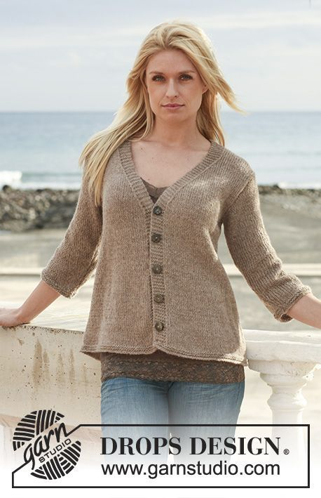 DROPS jacket with V-neck and ¾ or long sleeves in Classic Alpaca, DROPS ♥ You #3 or Belle or Puna. Size S - XXXL.