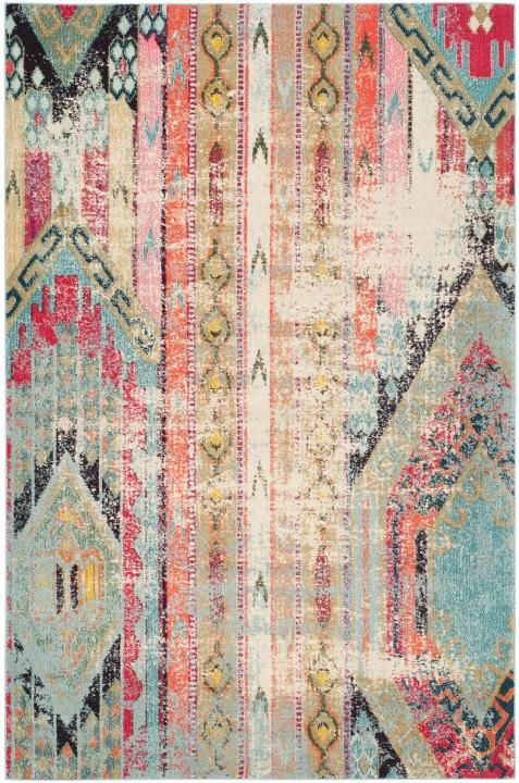 MNC222F Rug from Monaco collection.  Free-spirited and vibrantly colored, Monaco Collection rugs bring Bohemian-chic flair to folkloric and formal Persian designs. A mix of high and low loop pile is power-loomed of long-wearing polypropylene in classic textures and trendy erased-weave looks.
