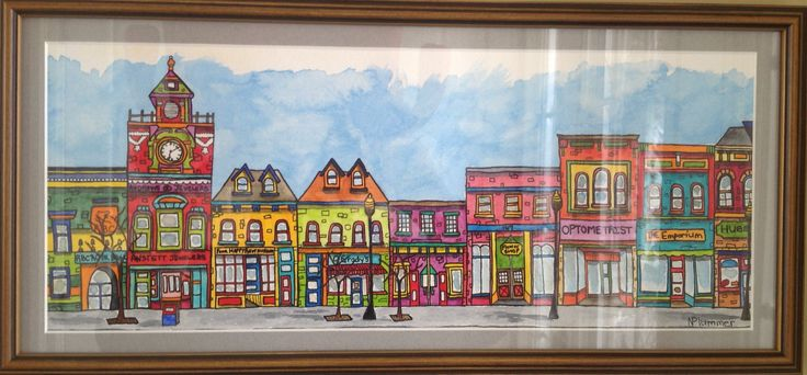 Painting of St. Marys streetscape by Nancy Plummer.