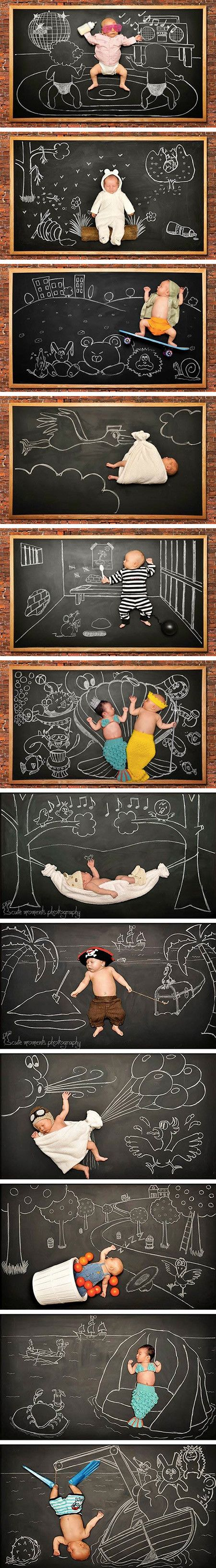 Chalkboard baby photos - I love this....now will I have time to do this??