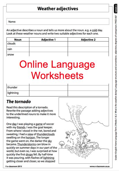 Grade 4 Online Language Worksheet, Weather Adjectives. For more, visit www.e-classroom.co.za!