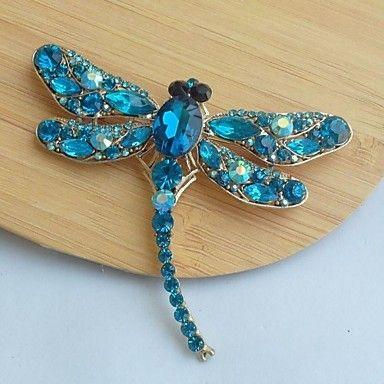 classica in lega color oro strass turchese di cristallo libellula spilla pin femminile – EUR € 17.24