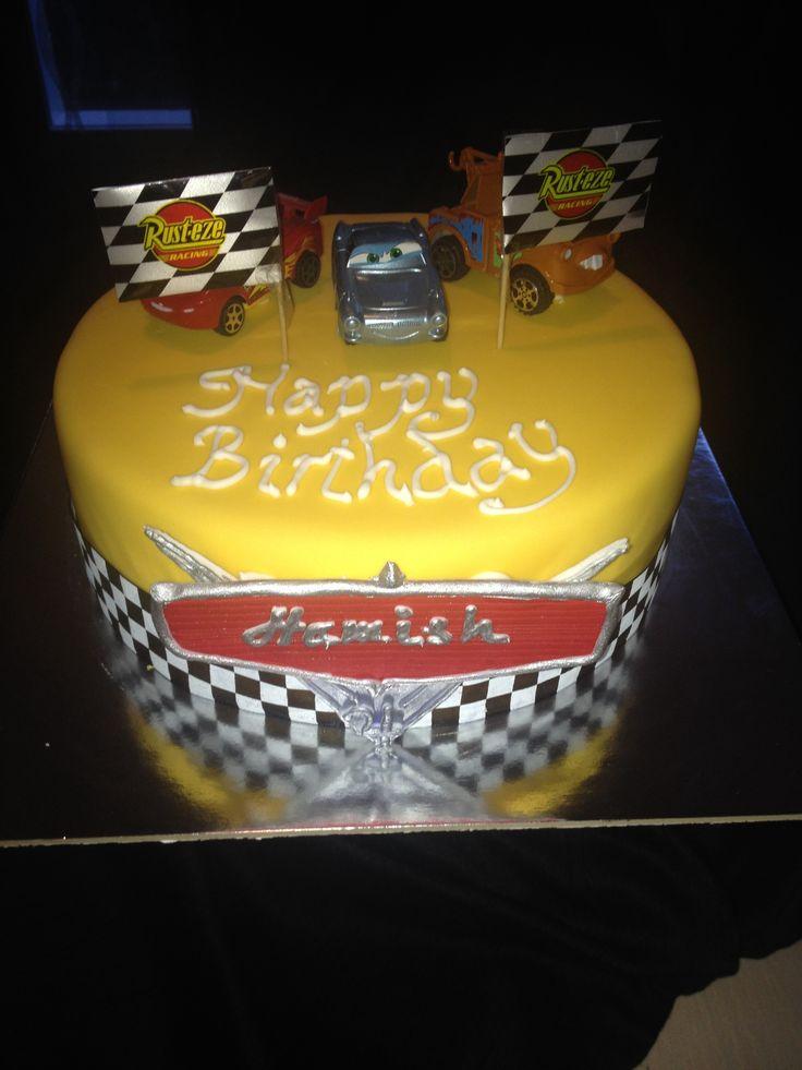 Disney 'Cars' cake...Red velvet chocolate mud cake with chocolate ganache