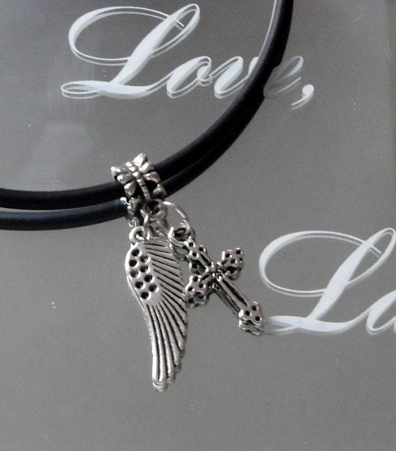 Silver Angel Wing Necklace Cross Heart Charm Silver by BijiJewelry, https://www.etsy.com/listing/189764462/silver-angel-wing-necklace-cross-heart