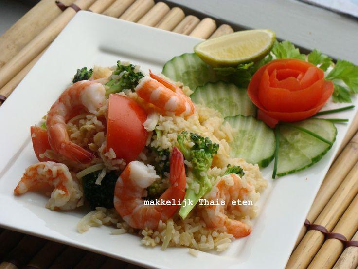 RECEPT: Thaise roerbak rijst met garnalen en ei/ Thai fried rice with prawn
