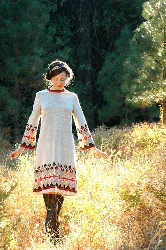 Vintage Folk Dress// 1960s Boho Dress// Scandinavian Folk Inspired// by AstralBoutique, $38.00