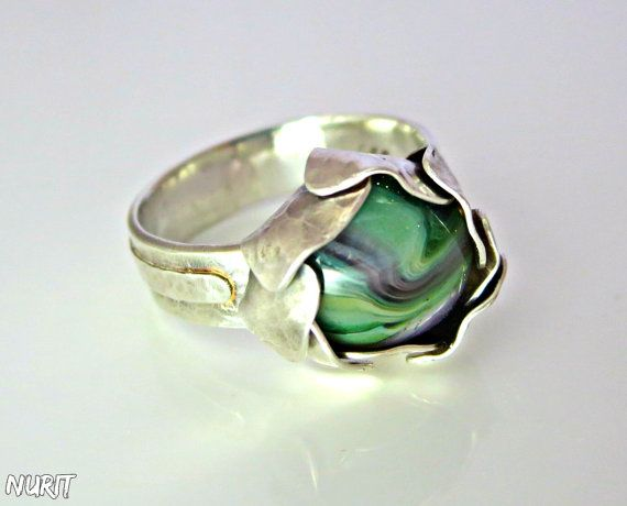 #Green, #stone, #ring, sterling #silver, #flower ring by #NuritJewellery