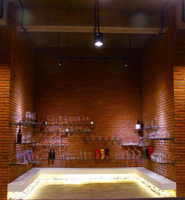 The Cellardoor, wine lifestyle boutique.  Schott Zwiesel glassware display.