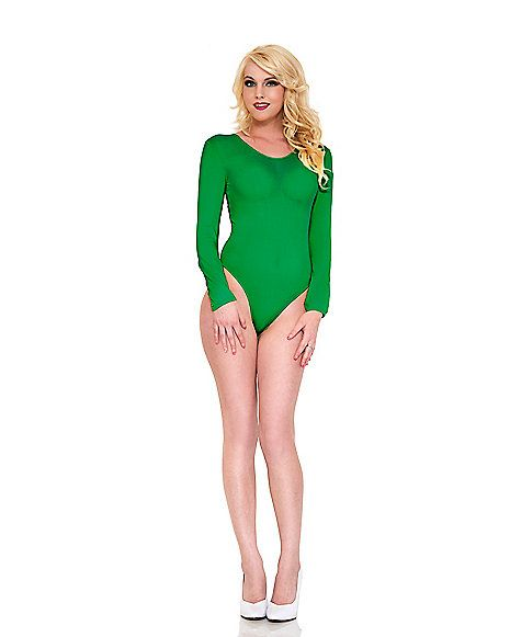 Long Sleeve Womens Green Bodysuit - Spirithalloween.com