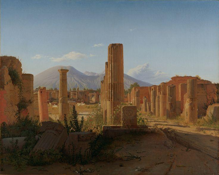 "POMPEII. ""The Forum, Pompeii, with Vesuvius in the Distance,"" Christen Schjellerup Købke, 1841. Oil on canvas. J. Paul Getty Museum, Los Angeles, California"