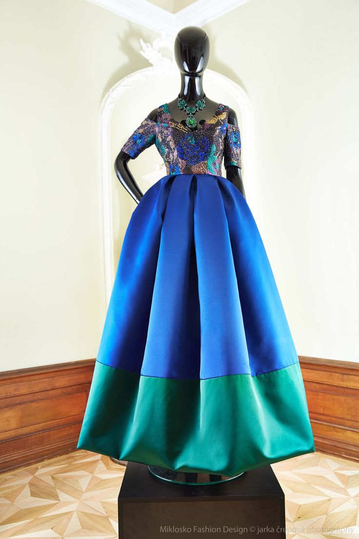 2. MFD Royal blue and emerald green ball gown. www.mikloskofashiondesign.sk
