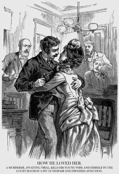 1883년, 여기는 미국의 어느 한 법정...   판결을 기다리는 동안 카이젤 수염한 남자의 얼굴이 갑자기 흑빛으로 침울해집니다. 그러기를 잠깐, 벌떡 일어서더니 그의 사랑하는 젊은 아내를 끌어안는 듯 하더니 총성이 울려 퍼지는데요~~,