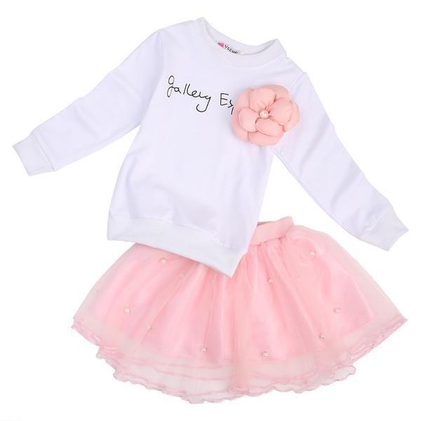 2017 Spring baby girls clothing set cotton kids Long sleeve + Skirt 2pc