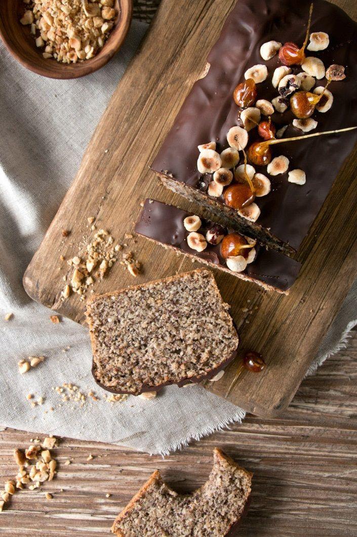 ... hazelnuts cake with dark chocolate icing ...