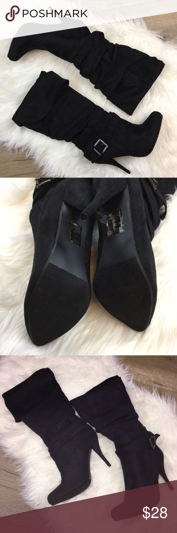 Black velvet soft heel boots Suede like velvet soft heel boots size 11 regular fit. Can be worn with tips folded under knee or over knee. Slip on style with decorative straps. Brand new never worn, shoes only. Shoe Dazzle Shoes Heeled Boots