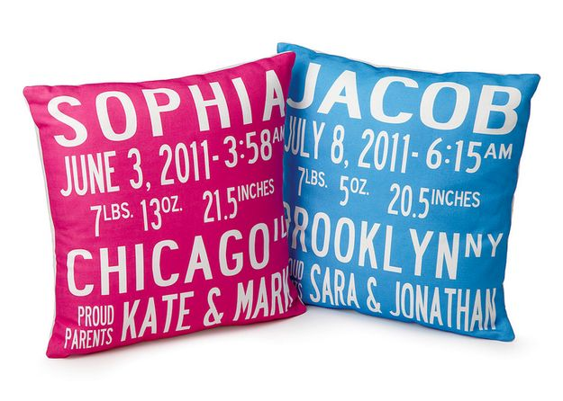 A birth announcement pillow.   25 Meaningful Personalized Gifts Kids Will Cherish Forever