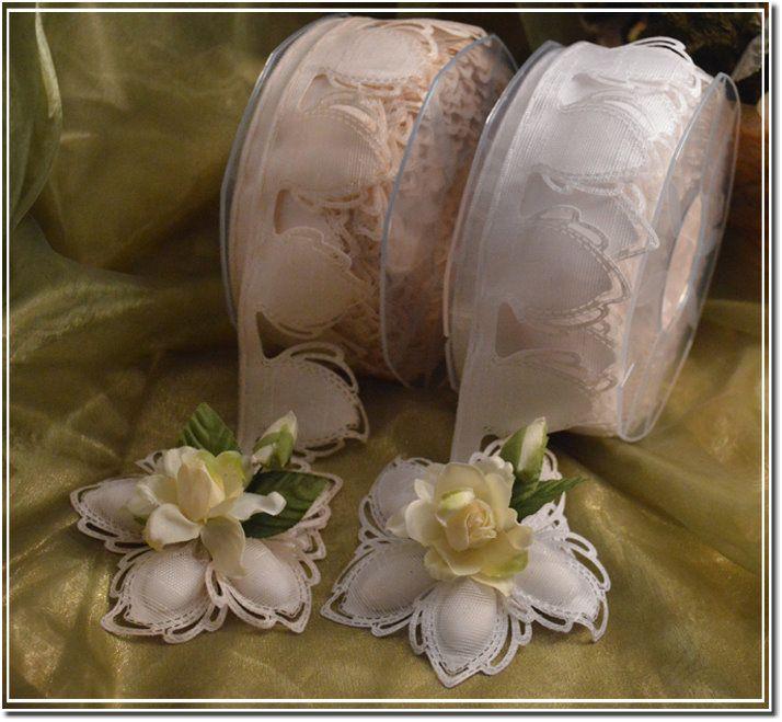 Italian Confetti Flower Coccarde Ribbon BY THE ROLL (52 flowers) myitalianfavors.com™