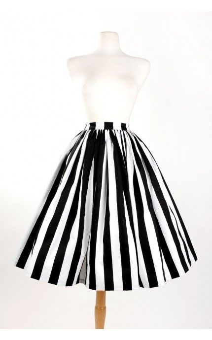 Pinup Couture- Vintage Goth Pinup Capsule Collection Jenny Skirt Black and White Stripe Twill Sateen