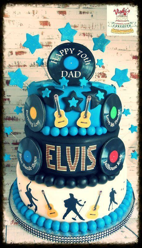 3 tier round elvis cake with vinyl records guitar and silhoutte decoration Elvis Birthday Cake