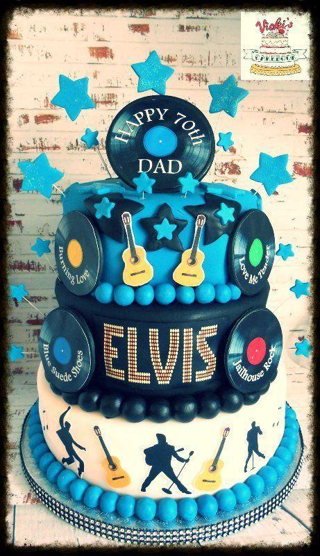 3 tier round elvis cake with vinyl records guitar and silhoutte decoration Elvis Birthday Cake