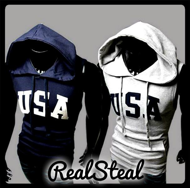 Mens Casual USA Sleeveless Hoodies