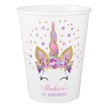 Rainbow Unicorn Birthday Paper Cup Pink Gold Cup - home gifts ideas decor special unique custom individual customized individualized