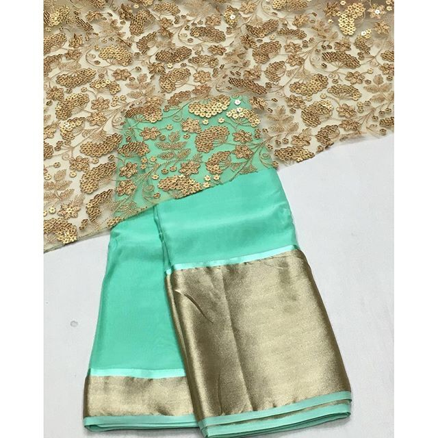 """Mint green chiffon Saree with gold emboridery blouse To purchase mail us at…"