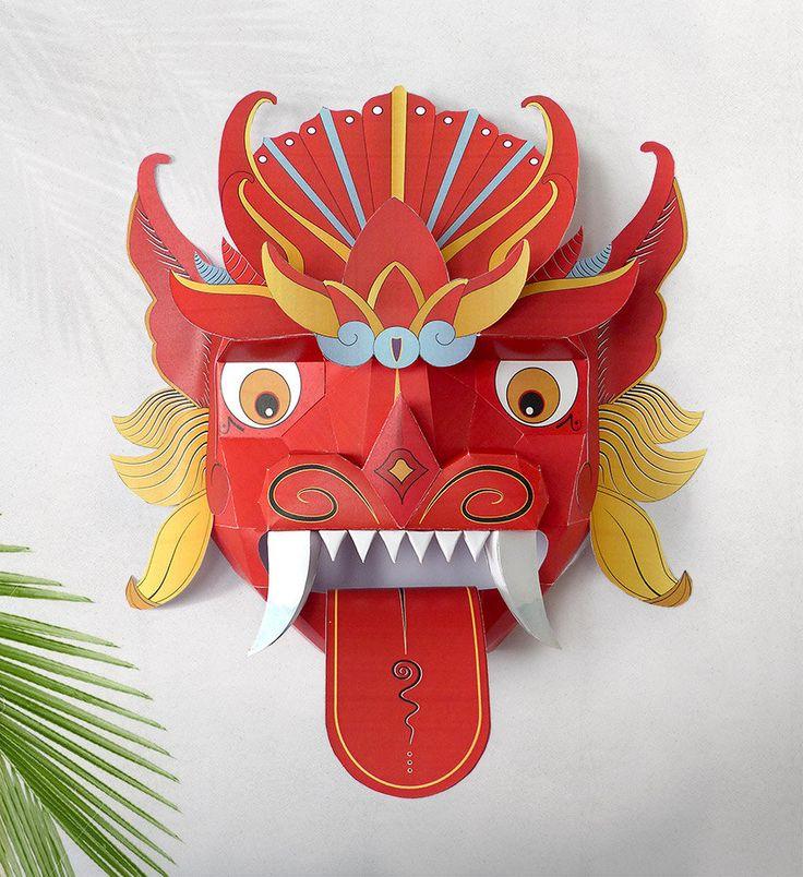 Mascara Oriental Mascara Balinesa Mascara de por GraphicHomeDesign