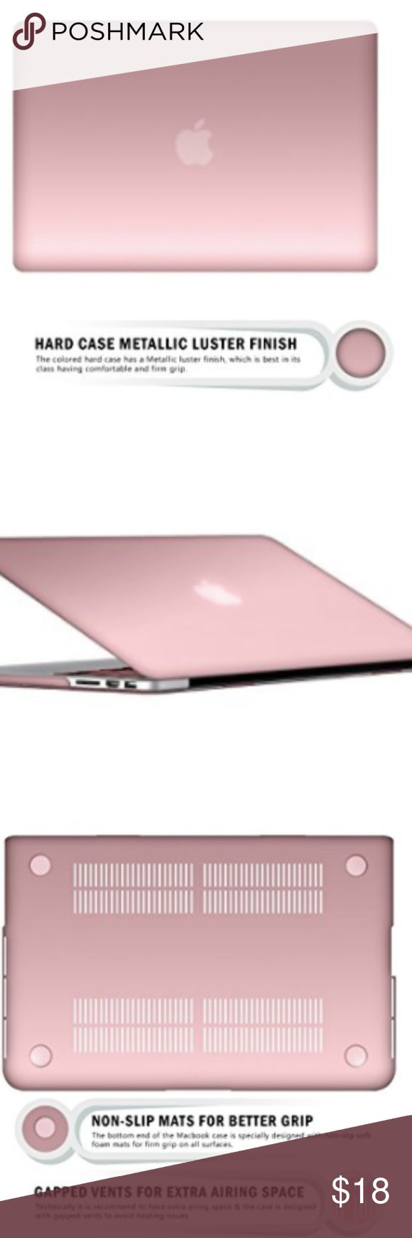 Rose gold MacBook Pro 13 inch Retina Display Case MacBook Pro 13 inch Retina Display Case, RiverPanda Lightweight Ultra Thin Metallic Finish Hard Plastic Case Cover. Never use, pretty color. Accessories Laptop Cases