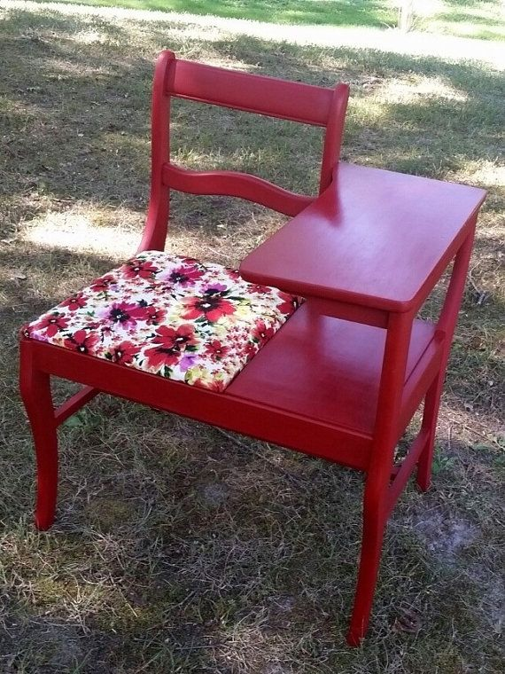 Black Friday Sale Vintage Telephone Table Red Gossip Bench Hand Painted Furniture Gossip