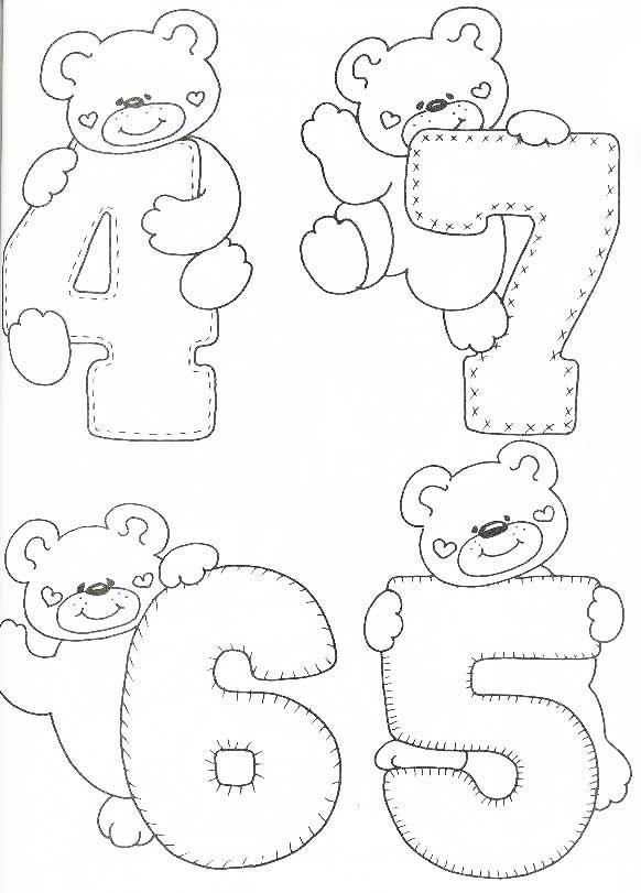 Desenhos Numeros Ursinho Decoracao Sala De Aula Em Eva 2