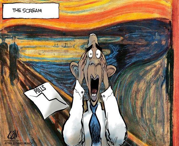 CLEVER ART | Oct/30/14 Cam Cardow - Cagle Cartoons - The scream - Obama, polls, popuarity