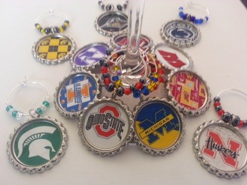 College Football Party Favors, College theme gifts, match teams, or mix and match wine charms, glass charms, beer bottle charms, cupcake toppers and more.