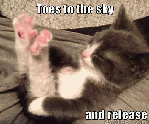 Toes to the sky and release.