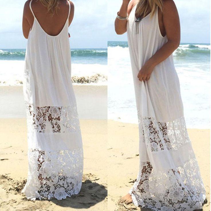 donna maxi Boho senza maniche spiaggia estiva lungo da sera vestito festa