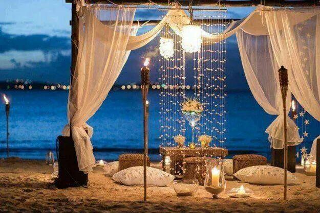 Romantic evening beach dinner
