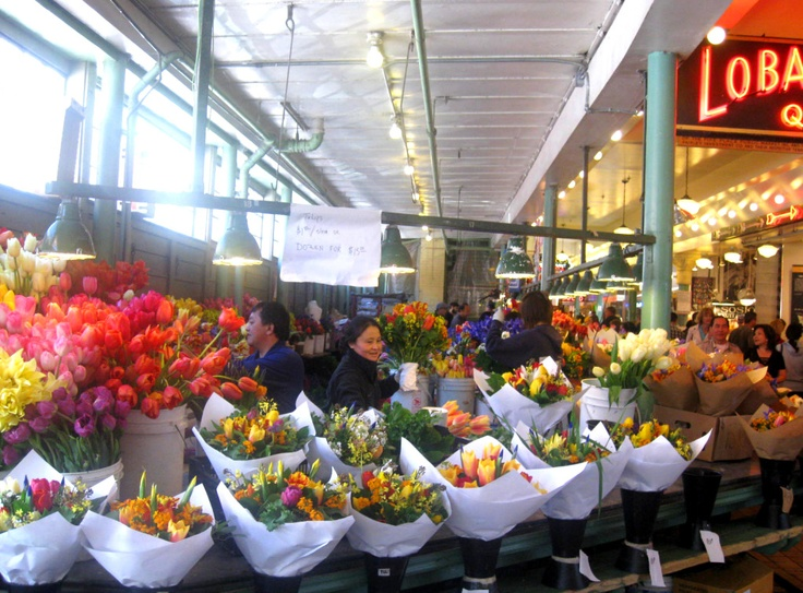 Flower Market, Pikes Place, Seattle WA.  A Market to Remember.