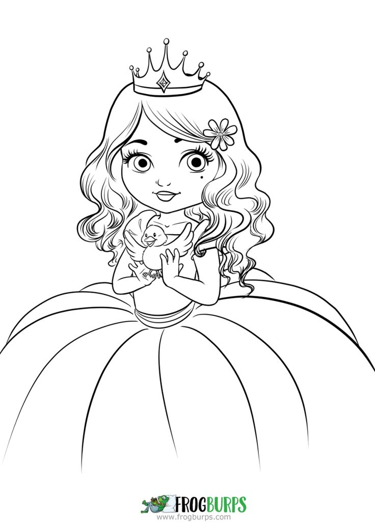 princess and bird another free coloring page from frogburps come by to find other - Free Coloring Pages Princess