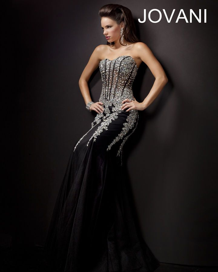 GORGEOUS black and silver mermaid gown. perfect for prom!