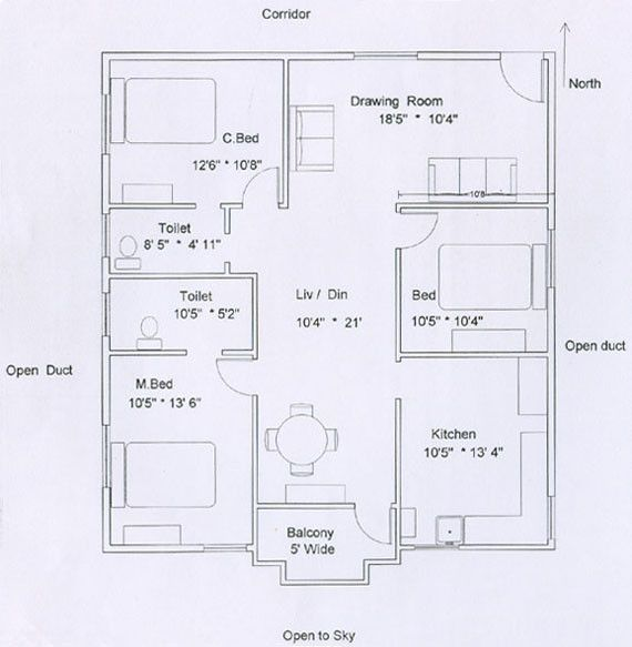 Lovely 3 Bedroom Flat Plan Drawing
