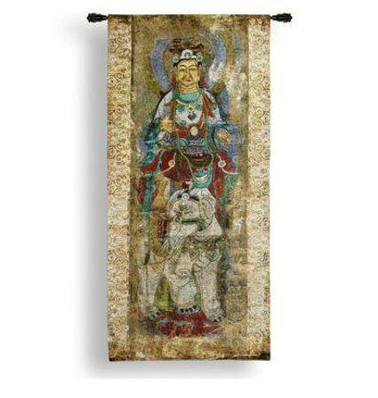 "Lotus I Asian Tapestry Wall Hanging 24"" x 50"""