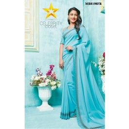 Turquoise Swarovski Work Saree This stunning Turquoise saree is accentuated with swarovski work and silk thread embroidery along the border adds a touch of elegance to the saree.It is paired with matching blouse with all over silk thread floral jaal embroidery on it.